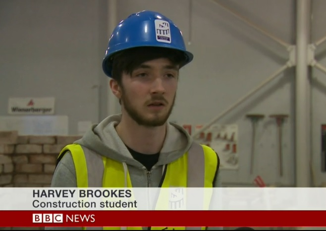Stockport College student Harvey Brookes on the BBC