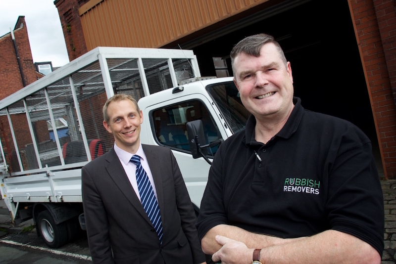 Joe Riley, Relationship Manager at Royal Bank of Scotland with Chris Johnson, Proprietor of The Rubbish Removers