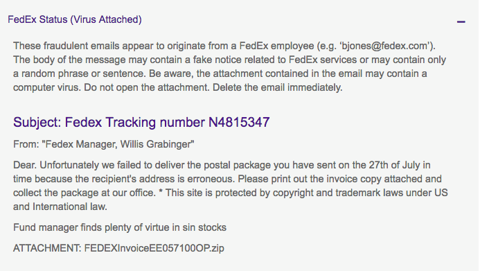 Email scam features 'FedEx' – Do Not Open!