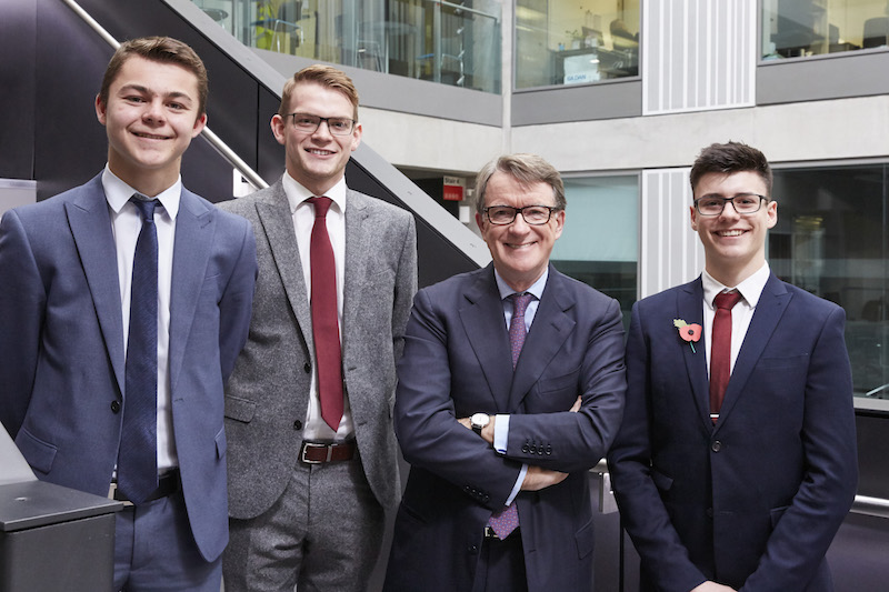 Stockport legal apprentices meet Lord Mandelson at MMU