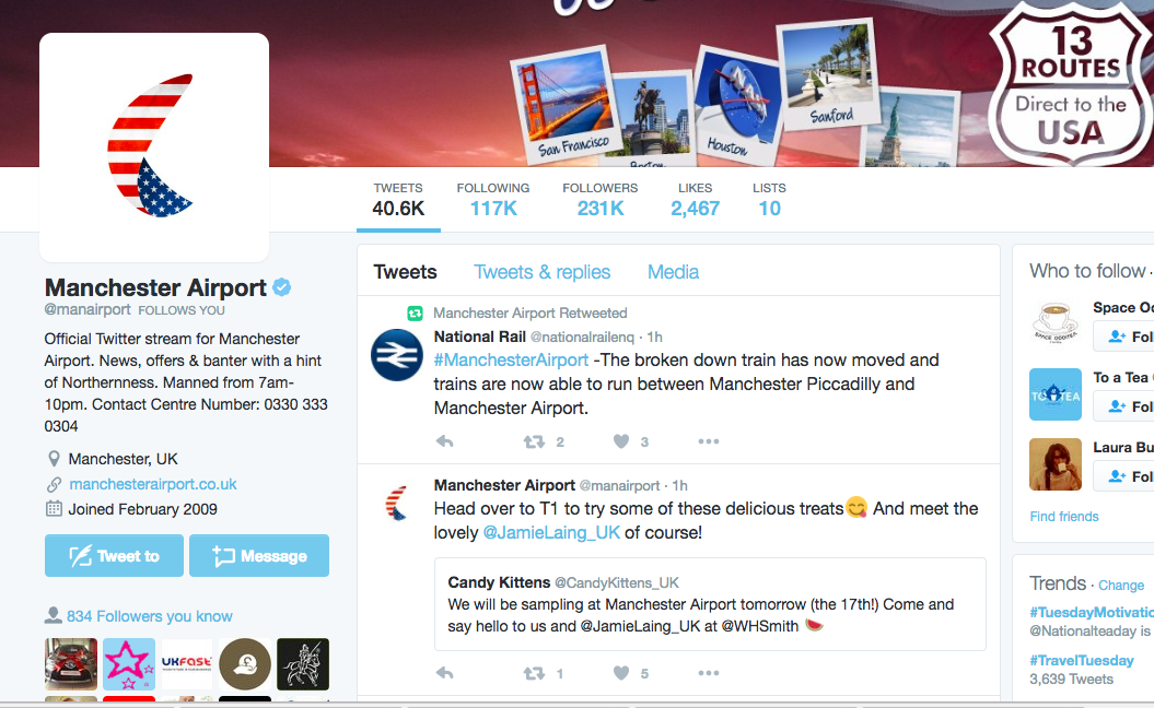 Manchester Airport launches #USADirect campaign