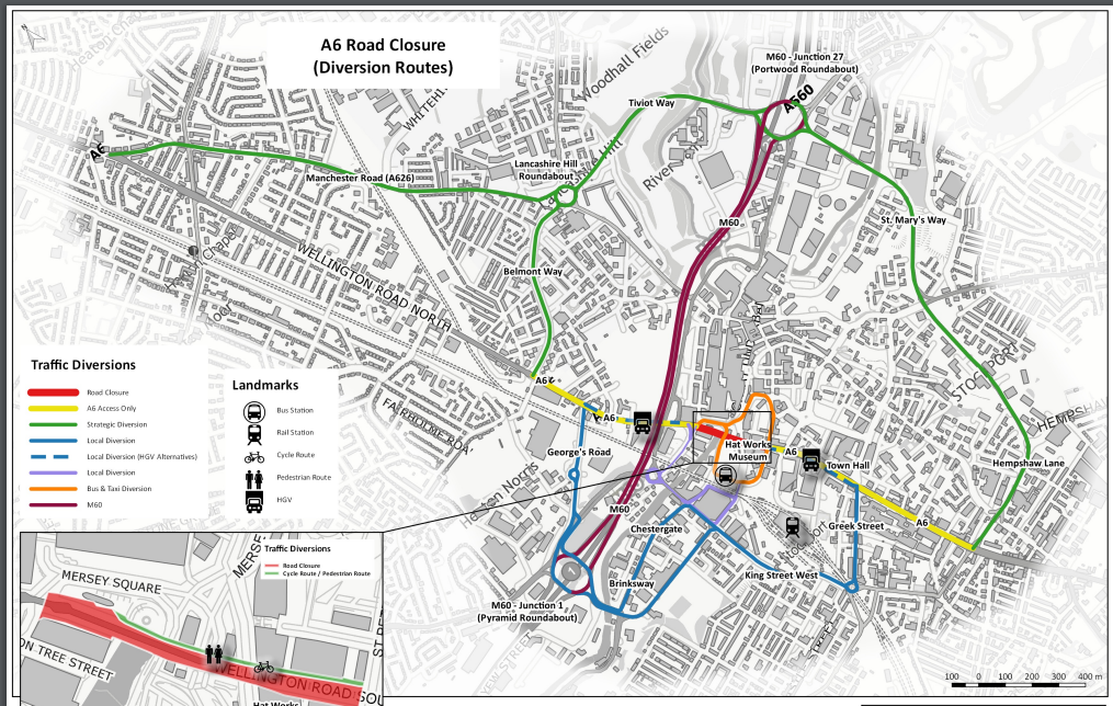 A6 Stockport to close for essential works