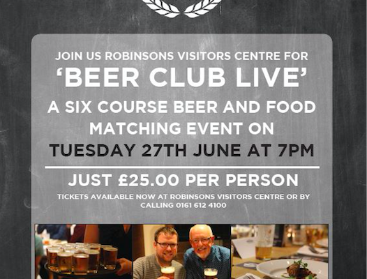 Join in at Robinsons Visitors Centre - matching food and beer!