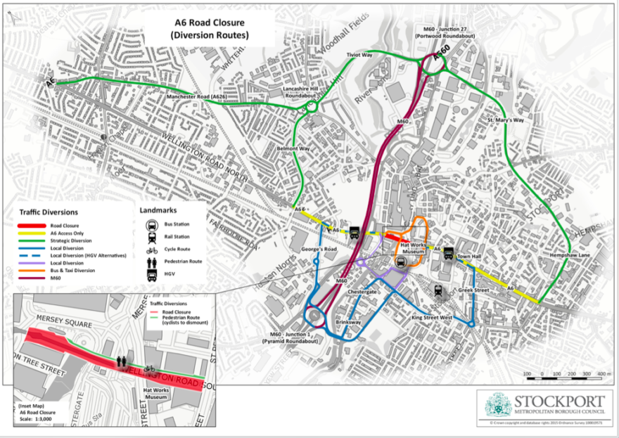 A6 Stockport closure - map showing diversion routes