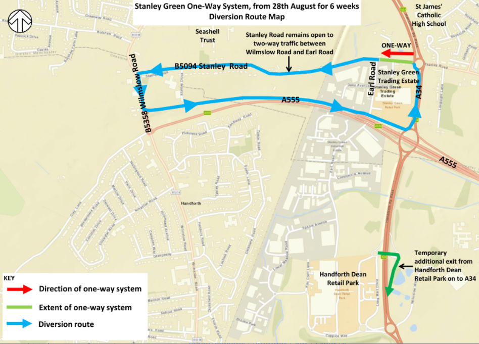 Roadworks at Stanley Green start 29th August