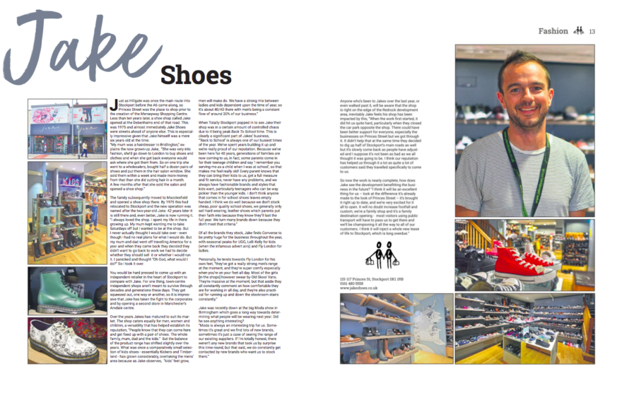 Totally Stockport magazine features Jake Shoes