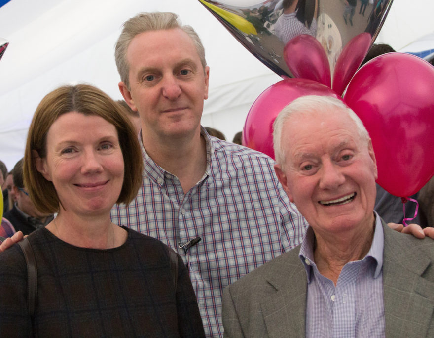 CDL's Melissa Johnson with founder Tom Hogg and centre: acclaimed Manchester poet