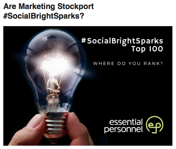 Are you one of the Stockport #SocialBrightSparks?