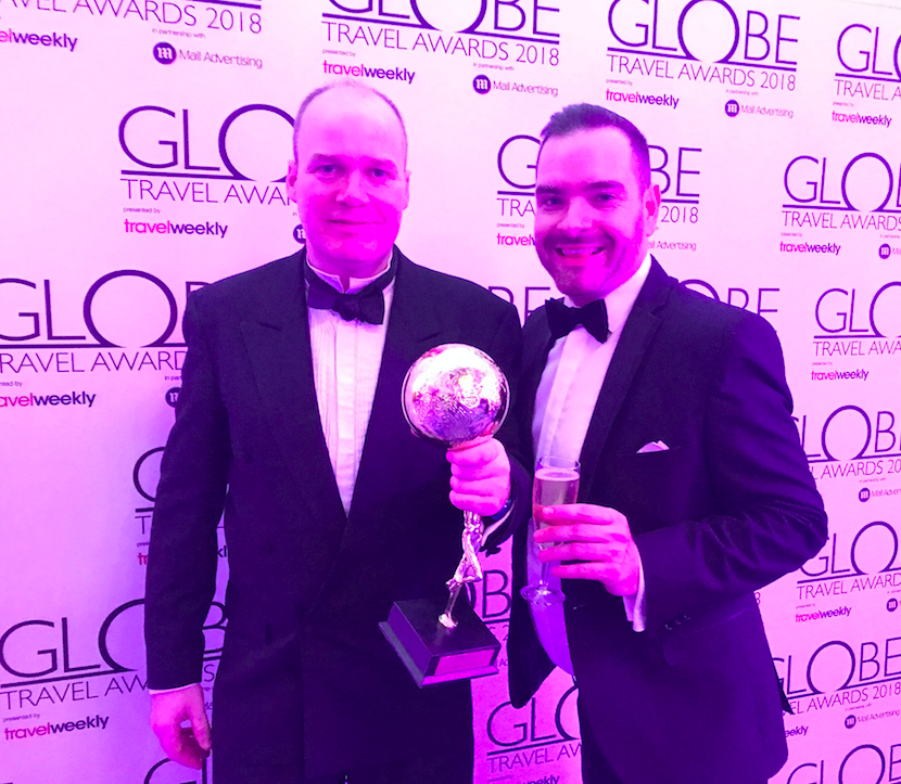 Patrick Alexander and Seb Thompson pick up Manchester Airport's award for Best UK airport