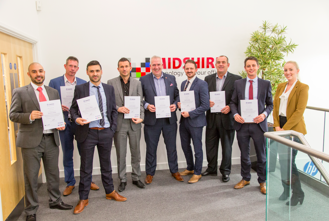 Midshire Telecoms team with their accreditations