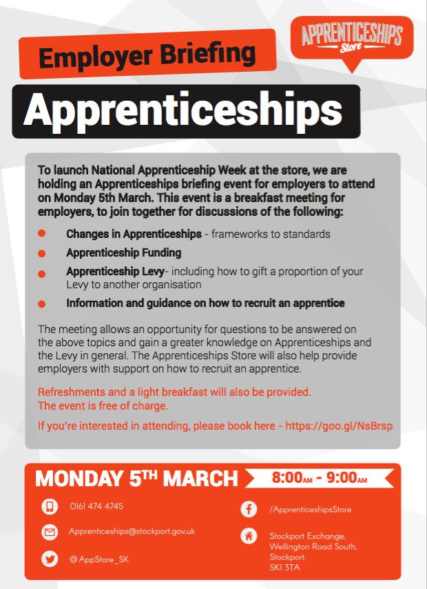 Stockport Apprenticeship store to host employer briefing in National Apprenticeship week