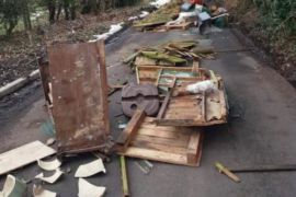 Fly-Tippers dumped rubbish blocking Threaphurst Lane in Hazel Grove